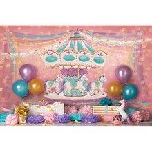 Vinyl Photography Background Pink Carousel Ribbon Spots Unicorn Balloon Newborn Birthday Party Custom Photo Backgrounds ZR-182