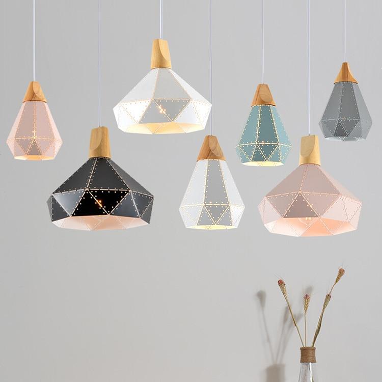 Наклонные лампы подвесные светильники деревянные и полые красочные железные Ресторан Бар Кофе столовая LED подвесной светильник приспособление|Подвесные светильники|   | АлиЭкспресс