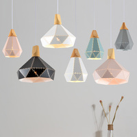 Slope lamps Pendant Lights Wood And Hollow colorful iron Restaurant Bar Coffee Dining Room LED Hanging Light Fixture