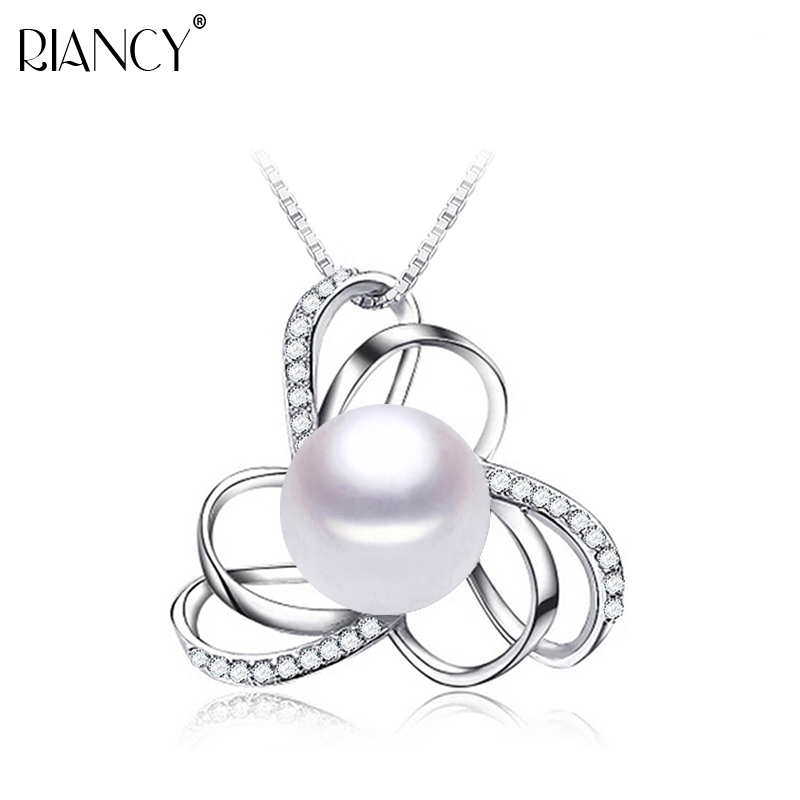 Fashion Charm 925 sterling silver pearl Necklace genuine Pearl jewelry Natural big Pearl Pendant 10-11mm for women