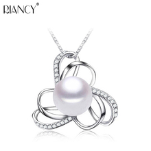 Fashion Charm 925 sterling silver pearl Necklace genuine Pearl jewelry Natural freshwater big Pearl Pendant 10-11mm for women miss charm jew 574 genuine 10 11mm akoya white pearl necklace