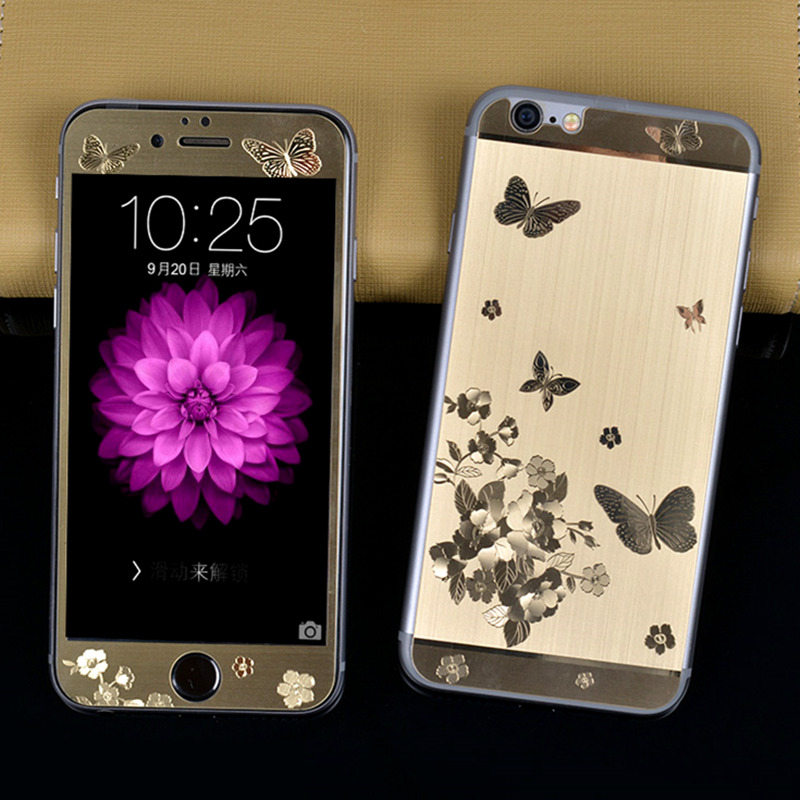 For IPhone 6 6S 6Plus Front Back 3D Butterfly Plating Metal Skin Sticker Cover Case Tempered Glass Screen Protector Rose Gold In Fitted Cases From
