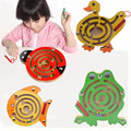 1 set Magnetic Marbles Labyrinth Wooden Animal Maze Educational Puzzle Intellectual Kids Parenting educational Game Toys