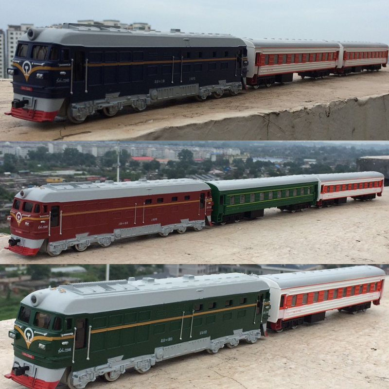 High simulation train model 1 87 scale alloy pull back Double train passenger compartment metal font