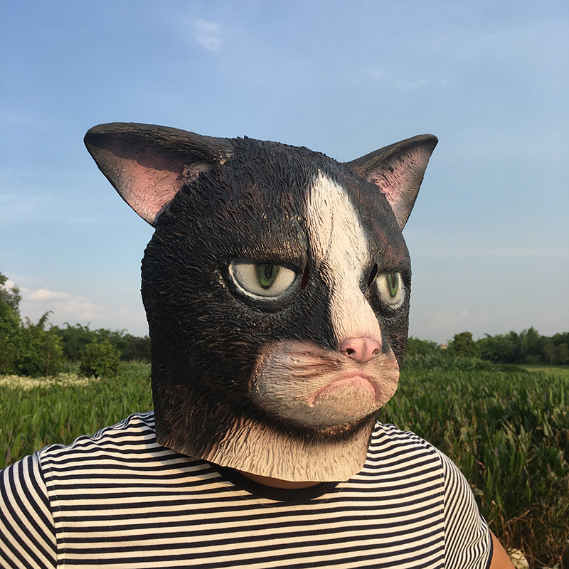 Image 4 - Funny Angry Cat Halloween Cosplay Animal Masks Full Face Mask Latex Horror Masquerade Party Cat Costume Adult MaskBoys Costume Accessories   -