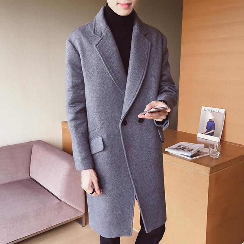 Новинка 2019, модное мужское высококачественное кашемировое однотонное длинное шерстяное пальто/мужской комфортный для свободного дыхания Тренч