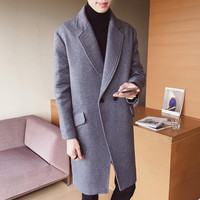 2019New product fashion male high grade cashmere pure color long Woolen cloth coat/men's Comfortable breathe freely Trench coats