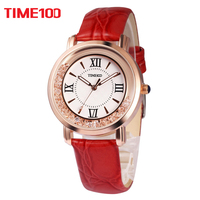 TIME100 Women Watches Rhinestone red Leather Strap Ladies Quartz Wrist Watche Roman Numeral Big Dial For Women relogio feminino