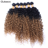 Oubeca 6pcs Pack Ombre Kinky Curly Hair Weaving Black To Brown Wine Red High Temperature Fiber