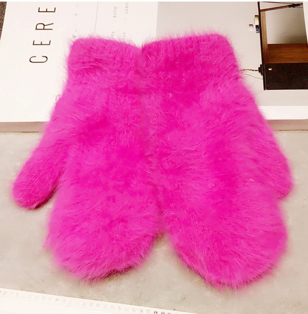 Winter Arrival Women Soft Wool Rabbit Hair Warm Knit Gloves Warmer ' Candy Color Mittens Gloves