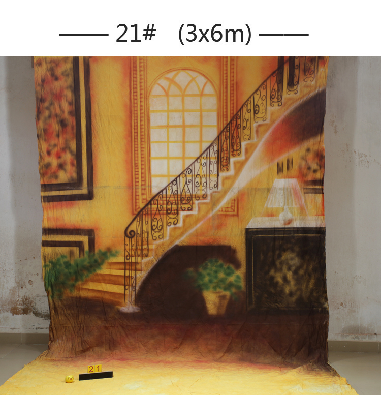 Professional Custom hand painted muslin interior scenic stairs photography backdrops wedding photo studio portrait backgrounds joseph