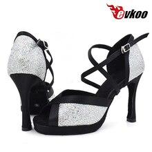 Купить с кэшбэком Evkoo Platform 10cm high heel Latin Dance Shoes Girls leather sole US4-12 white color wedding Latin Dance shoes women Evkoo-420