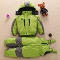 Inverno quente snowsuit bebê para baixo conjunto casaco Grosso menino menina com capuz terno de esqui Crianças do revestimento do revestimento + calças babadores roupas de desgaste exterior conjunto