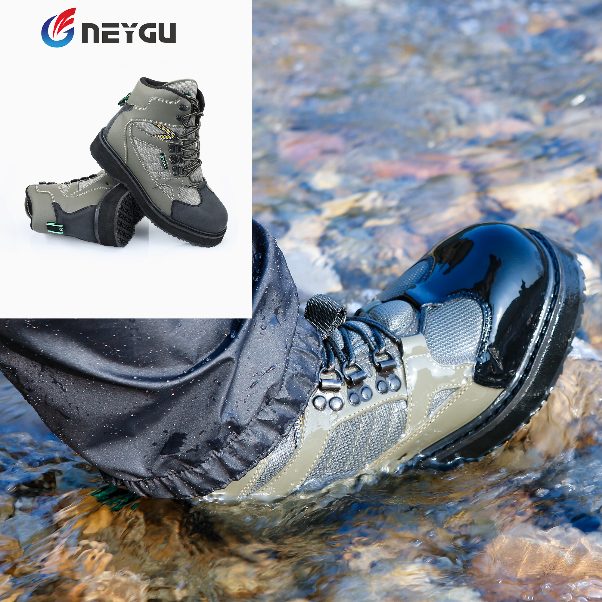 NEYGU fly fishing wading boots hard wearing wader shoes for hunting with felt sole suit for
