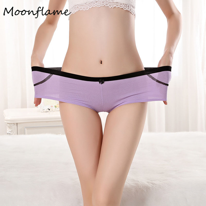 Moonflame New Arrival Underwear 2019 Cotton 6 Candy Color Women's Boyshorts Women   Panties   86985