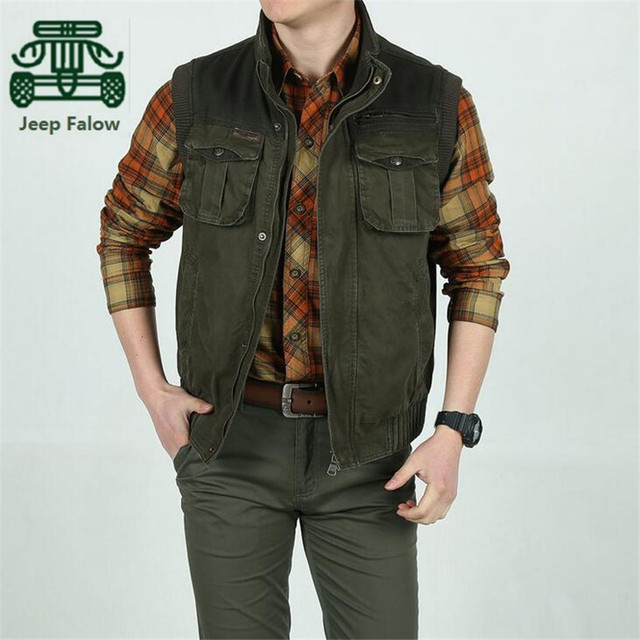 AFS JEEP Falow Stand Collar Man's 100% Cotton Vest,New Design Man's Fashionable Sleeveless Jacket,Worker's Working Cardigan Coat