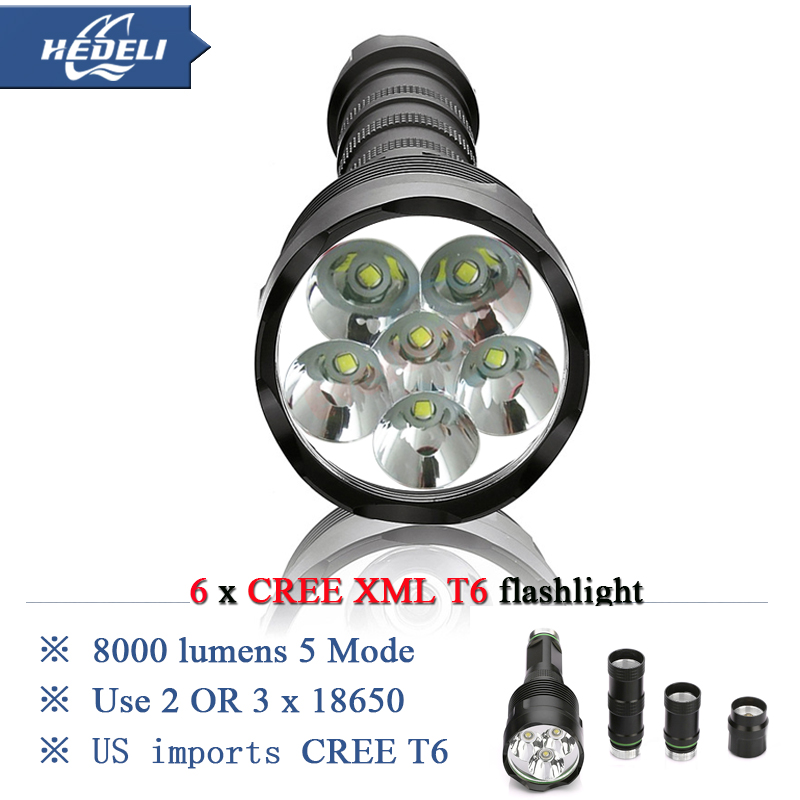 10000 lumens Powerful Flashlight 6T6 Removable led torch CREE XML T6 3x 18650 Rechargeable Battery Portable 5000 lumen Люмен