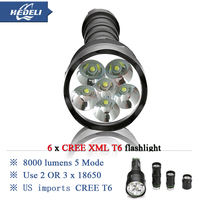 10000 lumens Powerful Flashlight 6T6 Removable led torch CREE XML T6 3x 18650 Rechargeable Battery Portable 5000 lumen
