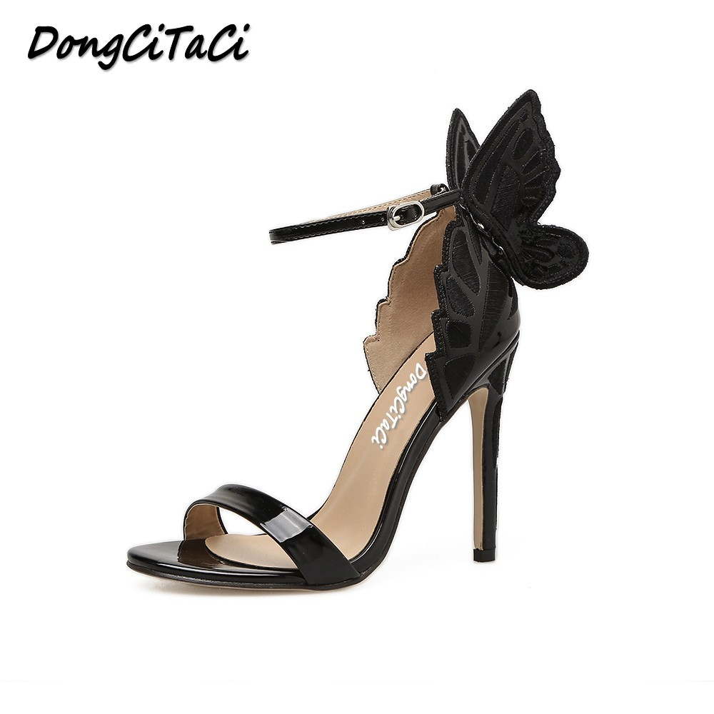 DongCiTaCi Women Pumps High Heels Sandals Shoes Woman Fashion Dreamy Butterfly Wedding Party Dress Ankle Strap Stilettos shoes цены онлайн