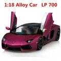 1:18 aleación de coche, LP700 alta simulación Supercar modelo de coche, metal funde, por inercia, vehículos de juguete de los niños, envío gratis