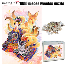 MOMEMO Fox and Girl Adult Jigsaw Puzzle 1000 Pieces Wooden Chinese Style Color Hand Painted Exquisite Pattern Toys