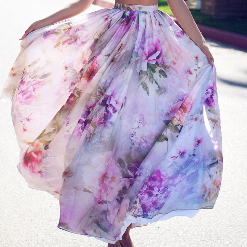 NEW Chiffon BOHO Womens Floral Long Full Skirt Ruched Floral High Waist Swing Beach Sun Skirt Ladies Summer S XL Size Clothes in Skirts from Women 39 s Clothing