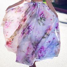NEW Chiffon BOHO Womens Floral Long Full Skirt Ruched High Waist Swing Beach Sun Ladies Summer S-XL Size Clothes