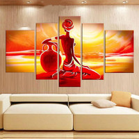 Hand Painted Colorful Nude African Woman Oil Painting Modern Home Decor 5 Panel Wall Art Pictures Red Acrylic Figure Paintings