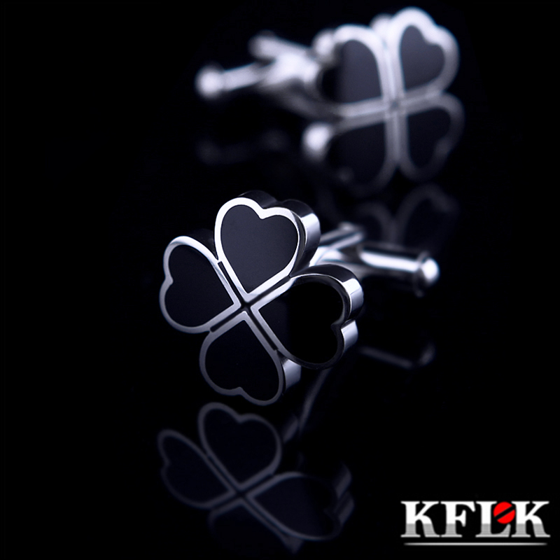 KFLK Jewelry French shirt cufflinks for mens Brand Black Clover Cuff links Wholesale Buttons Wedding High Quality Free Shipping spade ace pattern electroplating brass cuff links buttons silver black pair