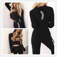 Z & P 2019, спортивный костюм, 2 шт., Женский комплект, тренировочный укороченный топ, толстовка + штаны в полоску по бокам, комплект из 2 предметов,...