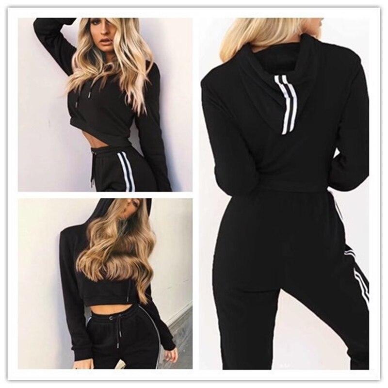 Z&P 2019 Tracksuit 2pcs Women Set Training Crop Top Sweatshirt+Side Stripe Pants 2 Pieces Sets Women Clothing Suits Female