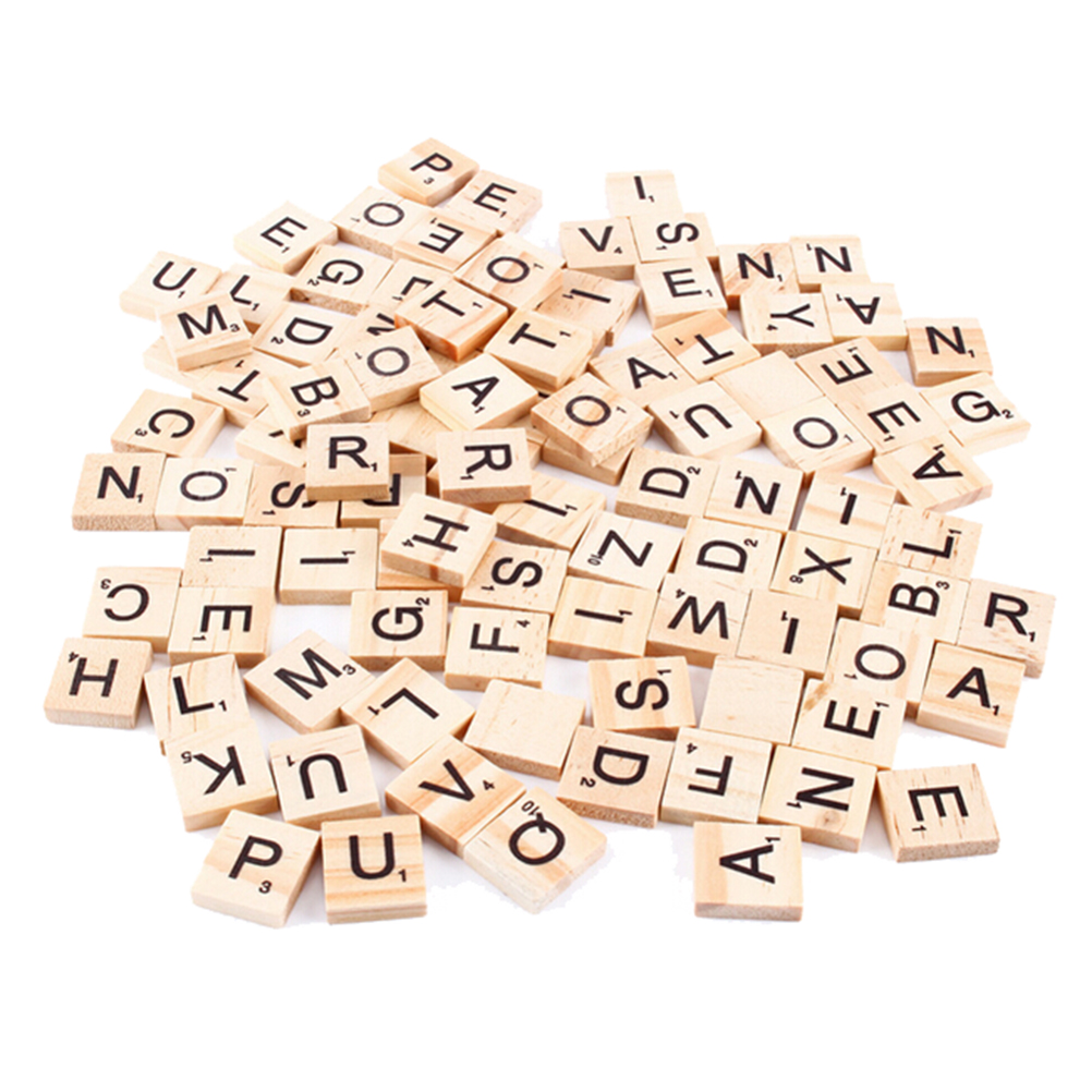 100Pcs/pack Wood Board Games Crafts Wooden Alphabet Scrabble Tiles Black Letters & Numbers for Crafts Wholesale
