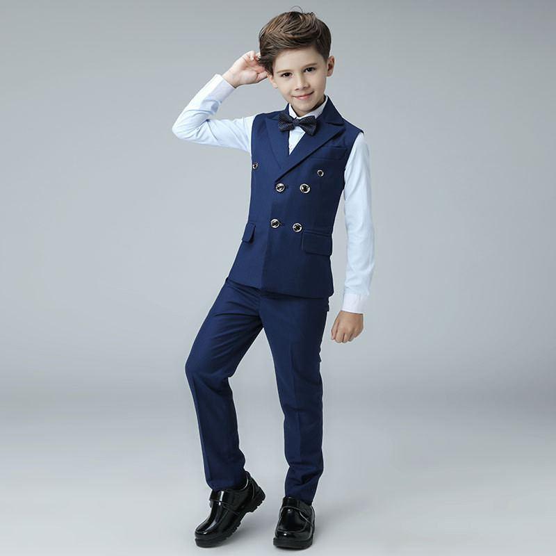 Nouveau enfants garçons costume pour Piano fête de mariage enfants garçons gilet + pantalon + chemise + nœud papillon ensembles bébé garçon costumes vêtements formels 4 pièces Y101