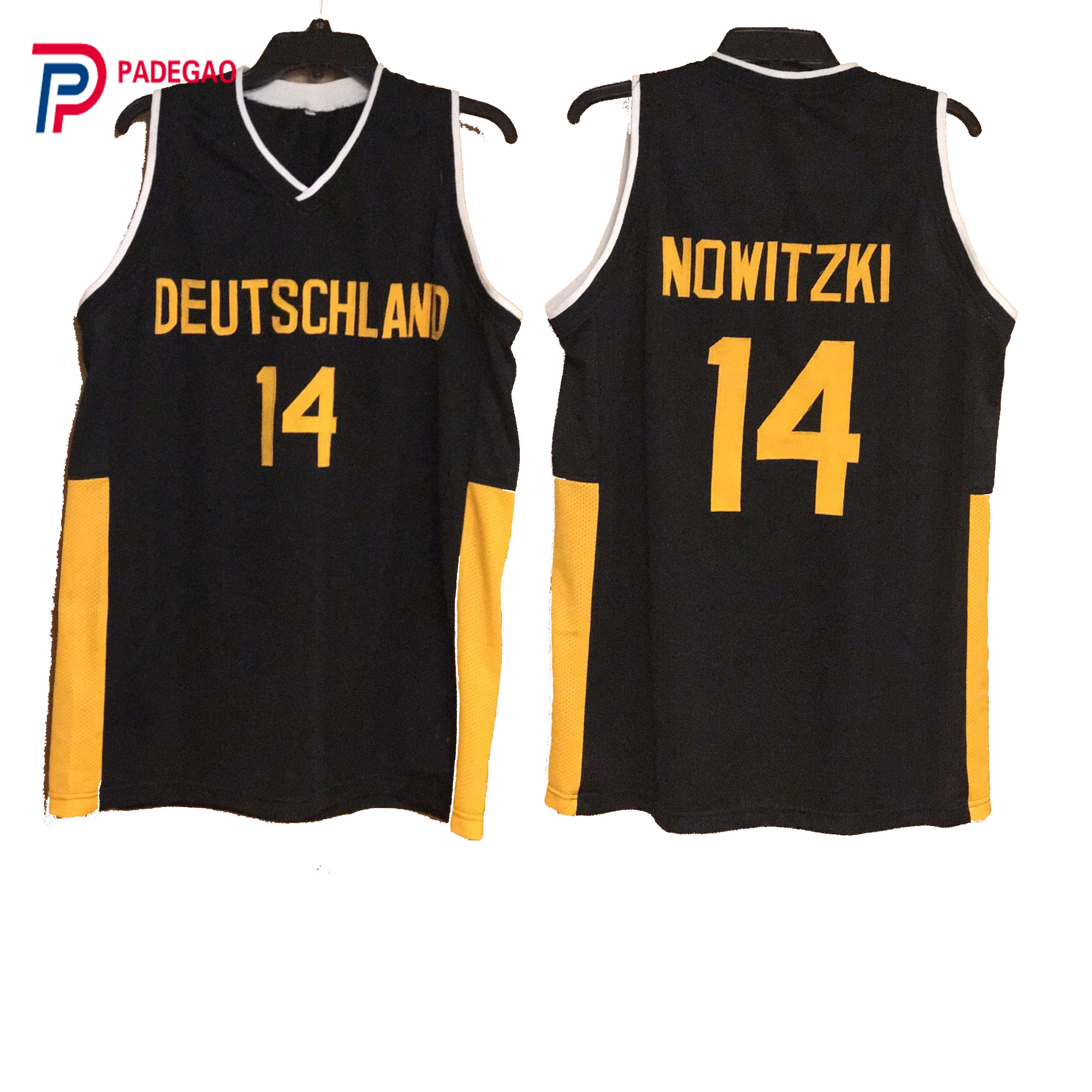 9fbc75ad761d ... where to buy 2018 embroidery stitched throwback basketball jersey dirk  nowitzki 14 deutschland team jersey black