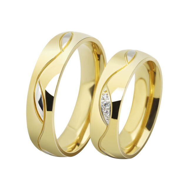 AndyChen Gold Color Couple Ring Engagement Wedding Band For Lovers