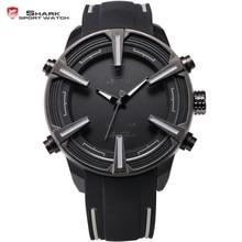 Dogfish SHARK Reloj Deportivo Negro Blanco Dial Banda de Silicona LED Auto Fecha Día Alarma Movimiento de Cuarzo Militar Ejército Reloj Digital para Hombre / SH388