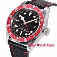 Одноцветное 41 мм GMT мужские часы черный стерильные циферблат светящиеся сапфировое стекло красный ободок автоматический механизм наручные