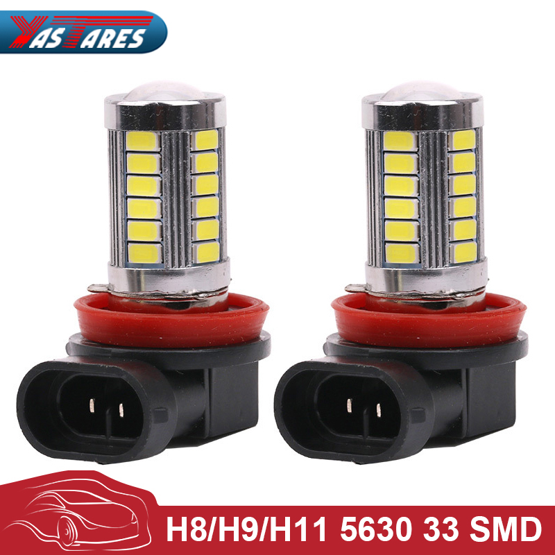 2pcs H11 Led High Power 5630 33LED Pure White Fog Head Tail Driving Car Light Bulb Lamp 12V H11 33 SMD Fog Lamp Car Light Source
