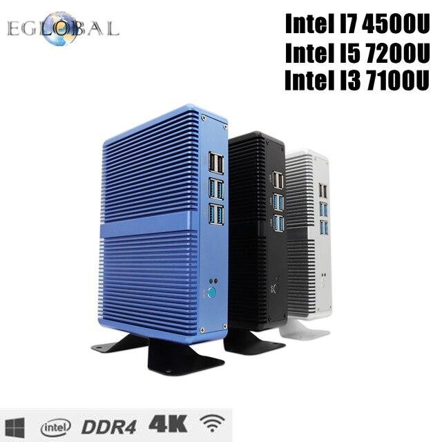 Eglobal pas cher sans ventilateur Mini PC Windows 10 Pro Intel i5 7200U i3 7100U i7 4500U DDR4/DDR3 Barebone ordinateur 4 K HTPC WiFi HDMI VGA