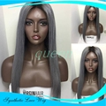 150% Density Synthetic Wig Silky Straight Synthetic Lace Front Wig Heat Resistant Ombre Sexy 1B To Grey Hair Wig For Black Women