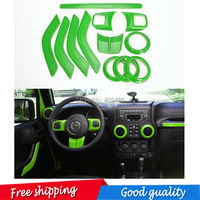 free shipping 12 pic Interior Mouldings Full Set Interior Decoration Trim Kit For Jeep Wrangler Cab 4 Door 2011 2015