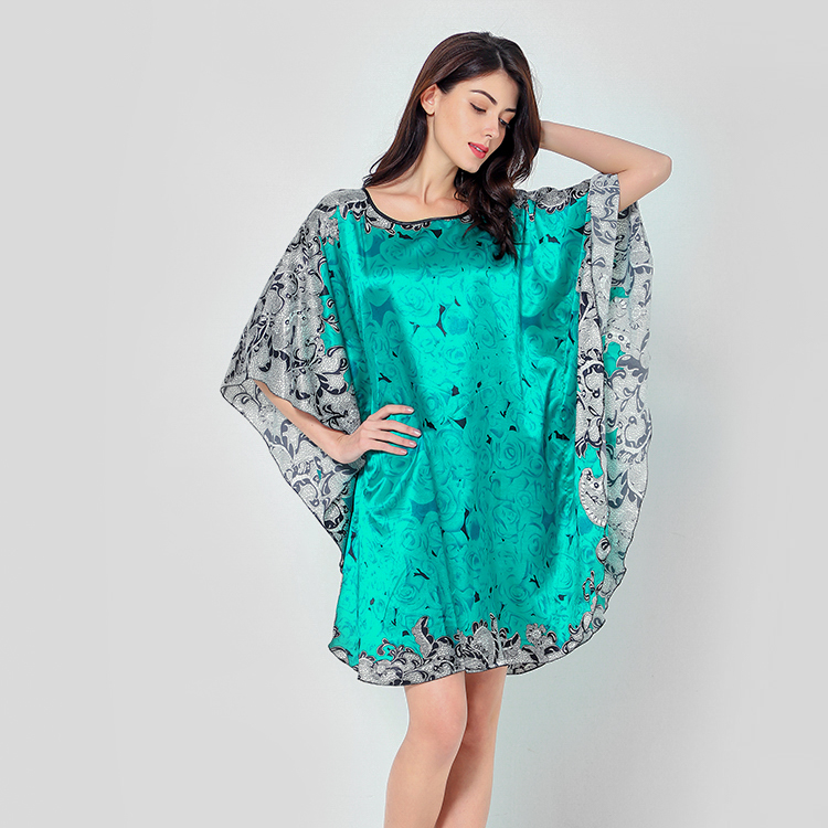 2019 Summer Fashion Women Home Shirt Print Formal   Nightgown   Nightdress Satin Sexy Mini Sleepwear Intimate Lingerie   Sleepshirt