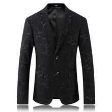 2017 High quality casual Gold embroidery suit men Business blazer jacket Men's fashion single breasted blazers size M-3XL