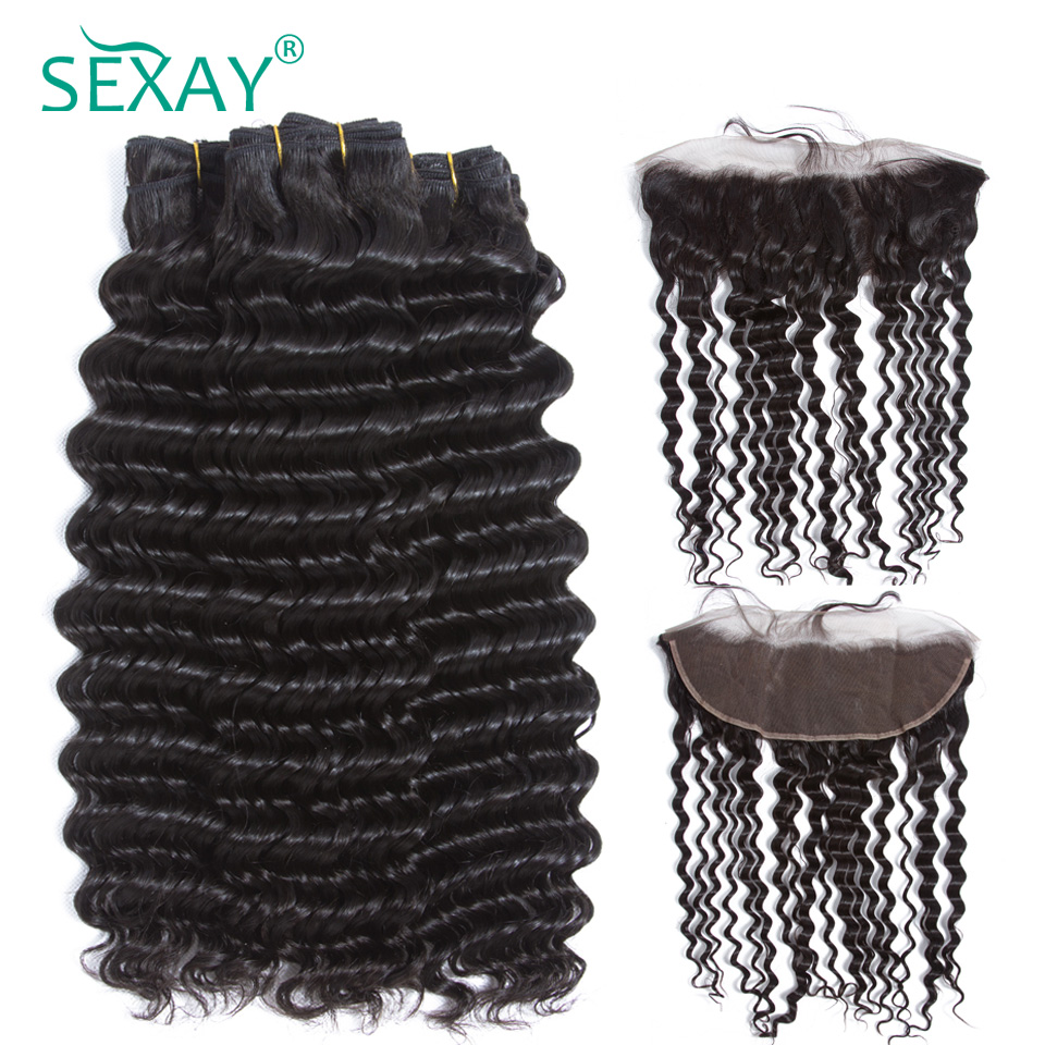Deep Wave Pre Plucked Lace Frontal Closure With Bundles Sexay Brazilian Remy Human Hair Weave 3 Bundles With 13x4 Frontals