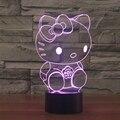 7 cores Atmosfera de Férias Iluminação Decorativa gatinho Gato Bonito Gadget LED Luz Noturna 3D Ilusion Lâmpada Luz
