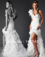 2016 Time limited Gown free Shipping New Style Best Seiier Sexy Custom Size Flowers One Shoulder Above Knee,mini Wedding Dress