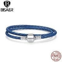 BISAER New Arrival 925 Sterling Silver Con Rắn Màu Xanh Chain Điều Chỉnh Bện Vòng Tay Rope đối với Phụ Nữ Jewelry WEUS910