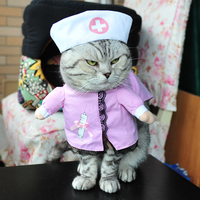 Halloween Pet Supplies Cat Clothes Stand Upright Pirate Police Cat Doctor Police Sailor Funny