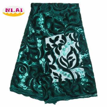 African Green Lace Wedding Dress, Luxury Lace Fabric 5Yard, African Wedding Lace Fabric High Quality Velvet Net Lace MR1710B - Category 🛒 Home & Garden