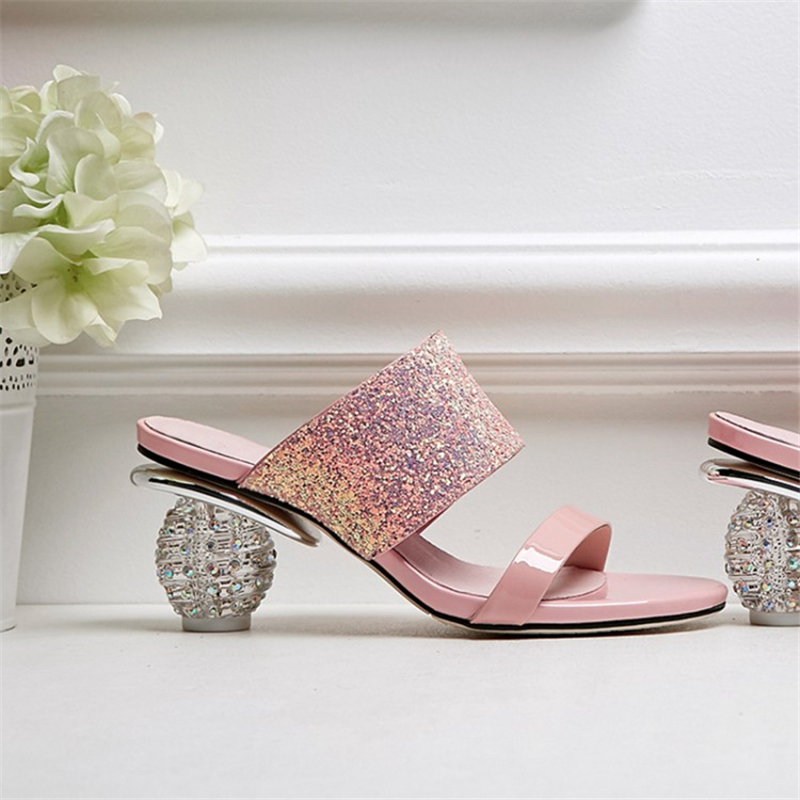 Ouqinvshen Bling Women Slippers Plus Size Casual Black Pink Fashion Concise Crystal Heel Summer Shoes Peep Toe Ladies Slippers